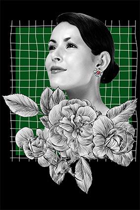 艺术美女头像素描花朵