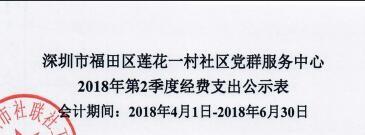 2018年社区中心第二季度支出公示(莲花一村)