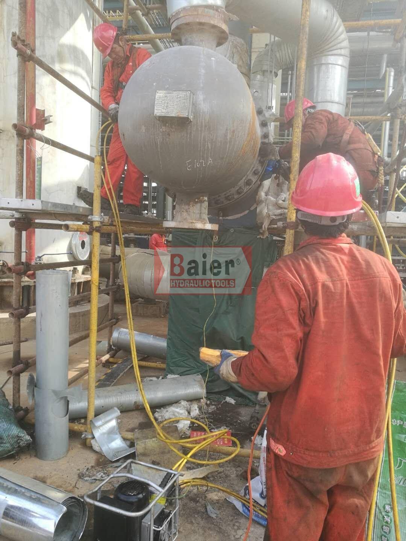 拜尔液压扳手服务于中石油甘肃项目的检修工程,力争本月底前完成施工