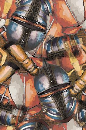 抽象铁甲战士头盔