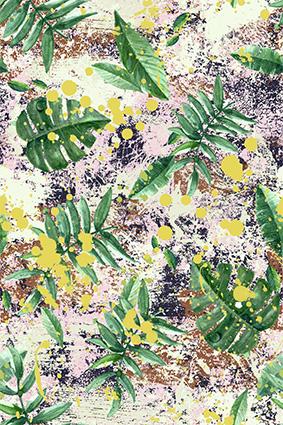 抽象磨砂底绿色热带植物