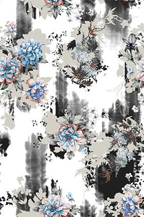 水墨渲染底装饰花朵