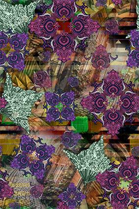 抽象城市腰果彩色花边
