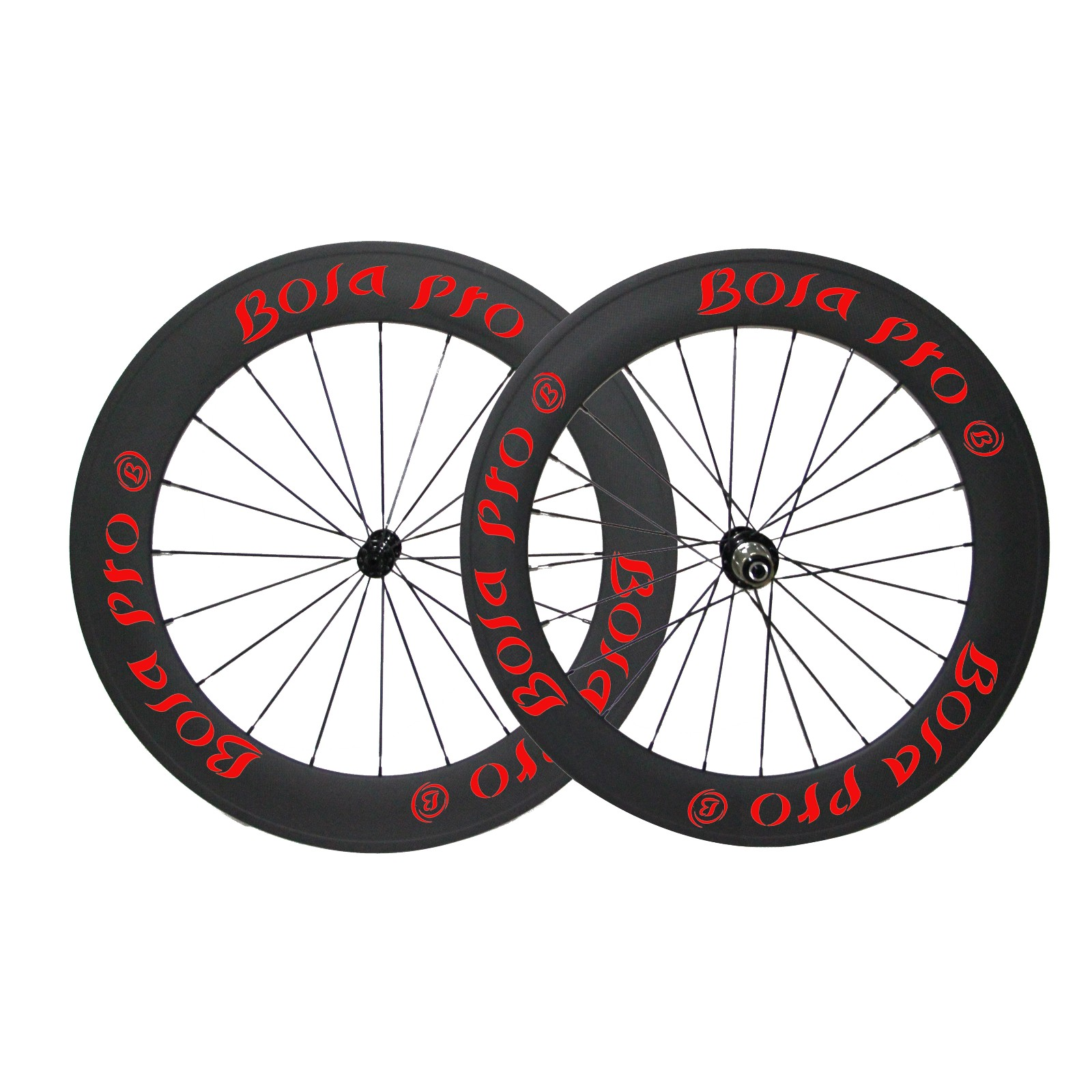 700C 55mm carbon track wheelset with center lock and straight pull hub