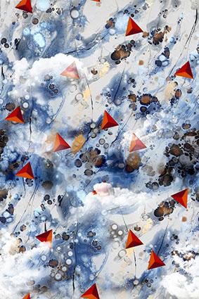 效果三角水彩装饰花型