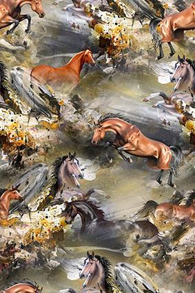 岩石山脉奔腾骏马