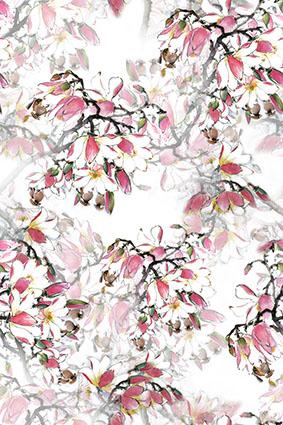 叠加透视花底垂落花枝