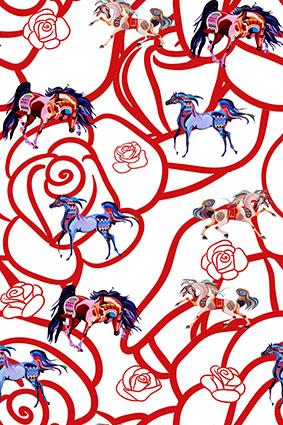 红线条花朵素描花卉