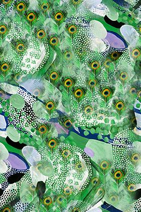 绿色孔雀羽毛波点花型