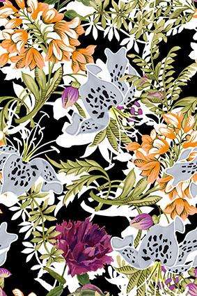 矢量斑纹效果茂密花卉