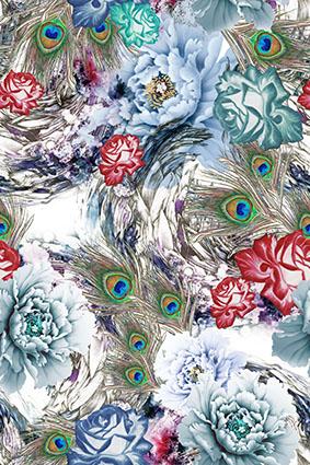 孔雀羽毛水彩花卉
