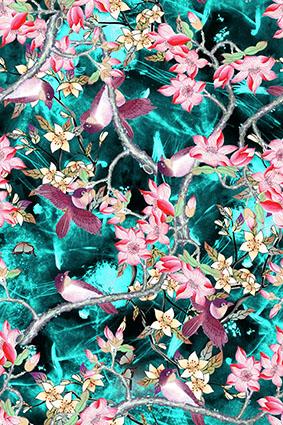 磨砂绿底小鸟枝头花卉