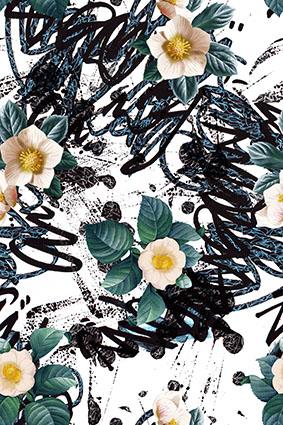粗笔黑线条元素花卉
