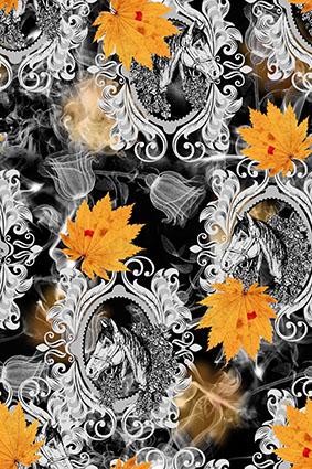 装饰边框黑白镜子怀旧枫叶