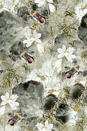 淡雅风景岩石小鸟鹌鹑花
