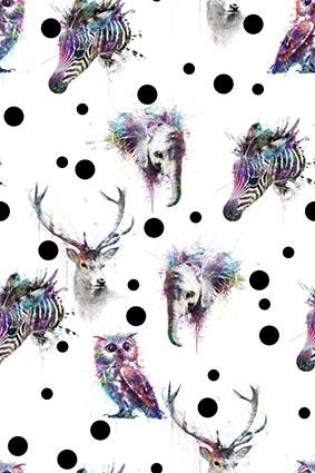 渲染炫彩波点动物头像