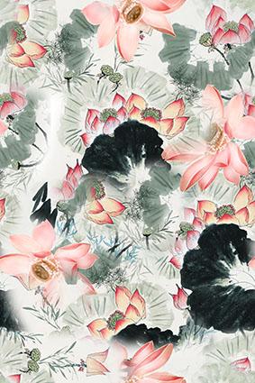 莲花盛开水墨装饰图案