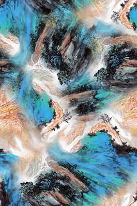 水彩山水画美丽山庄