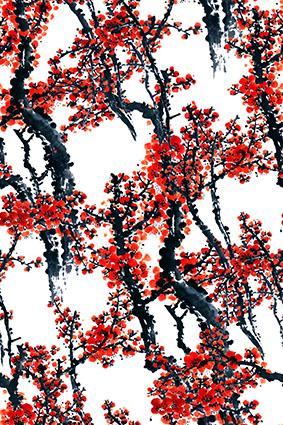 水墨树枝红艳梅花