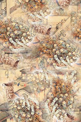 古代楼盘典雅孔雀羽毛
