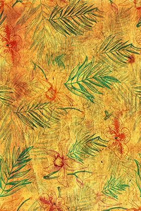 复古磨砂黄色绿叶树枝