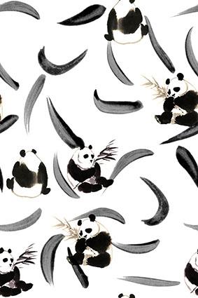 灰白叶片竹叶熊猫