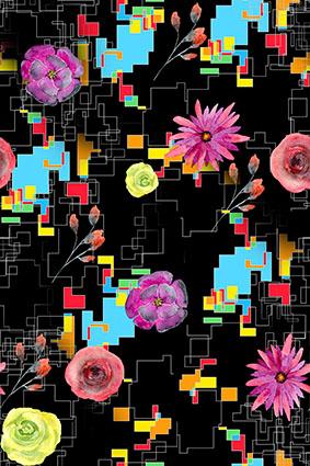 几何孟丽斯点线面娇艳花卉