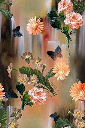 斜影淡雅底手绘束花