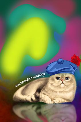 渲染水彩底帽子可爱小猫