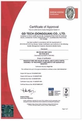 AS 9100D Certificate