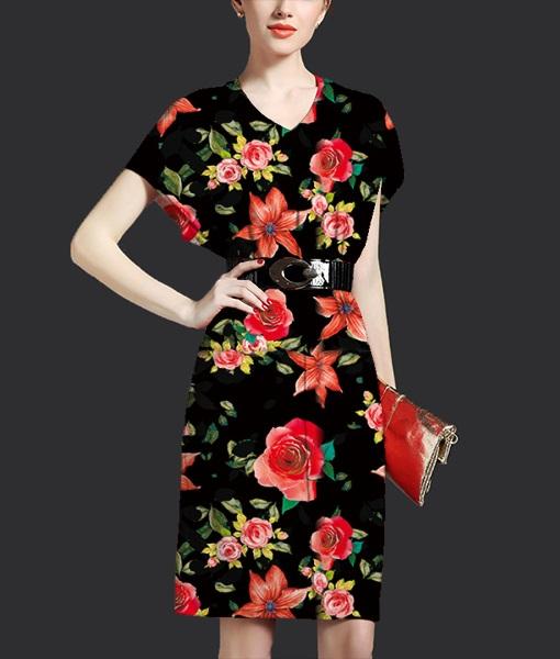 黑底元素枝叶红色花朵