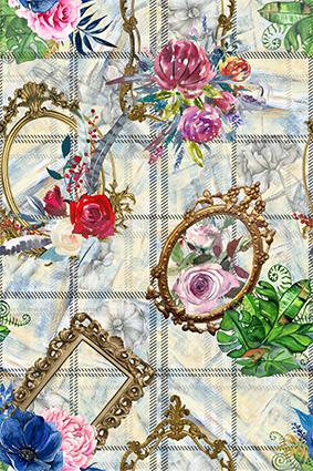 艺术格子雕饰镜子边逛花朵