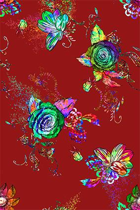 绚丽娇艳炫彩红底花镜