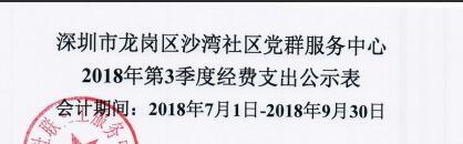 2018年社区第三季度支出公示(沙湾社区)