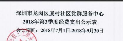 2018年社区第三季度支出公示(厦村社区)