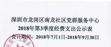 2018年社区第三季度支出公示(南龙社区)