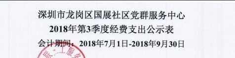 2018年社区第三季度支出公示(国展社区)