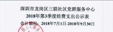 2018年社区第三季度支出公示(三联社区)