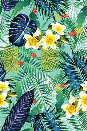 热带植物绿叶手绘花