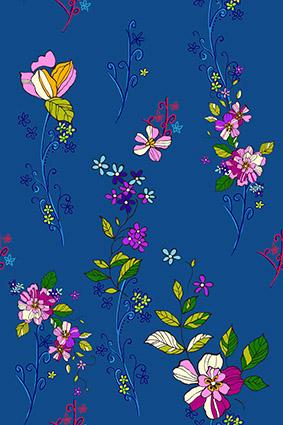 蓝底矢量素描色块花