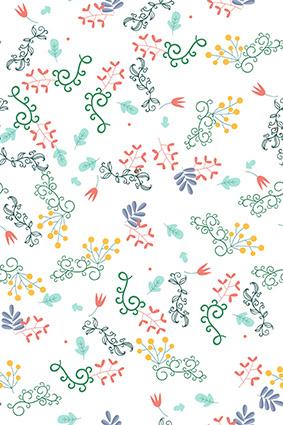 点缀枝叶小花朵