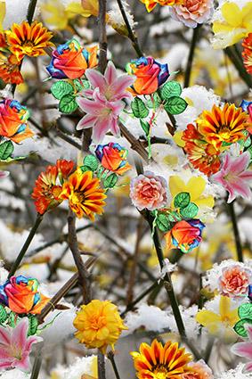 叠加花丛炫彩花型