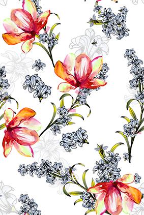 水彩绚丽娇艳花朵