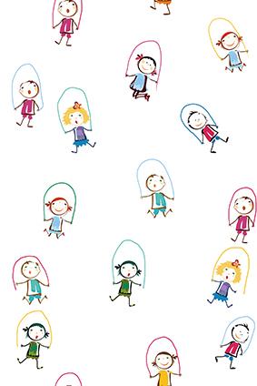 卡通小女孩个性跳绳