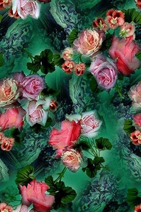 绿色水彩渲染雨露花朵