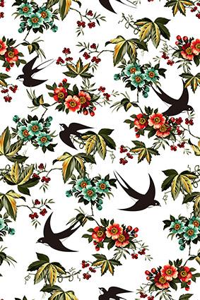 素描燕子手绘花窗