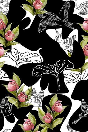 素描飞鸟植物花卉