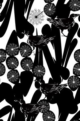黑色素描色块花朵