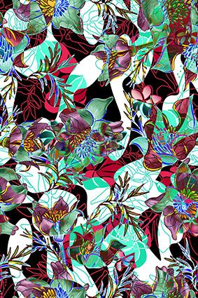 植物线条炫彩花色