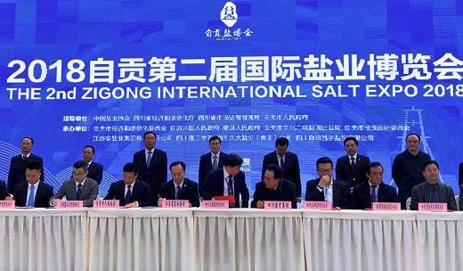 """苏盐集团应邀参加 """"2018自贡第二届国际盐业博览会""""并与自贡市人民政府签订战略合作协议"""